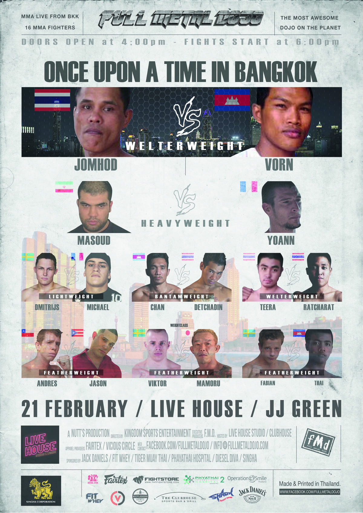 FMD4 Once Upon a Time in Bangkok Fight Card Poster
